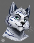 blue_ears blue_eyes blue_stripes canine feline fur green_eyes hair hybrid looking_at_viewer male mammal portrait reddyeno5 tiger waffles_(character) whiskers white_fur white_hair white_tiger wolf   Rating: Safe  Score: 7  User: _Waffles_  Date: August 26, 2013