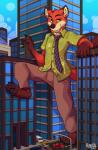 anthro barefoot building canine city clothed clothing cloud disney fox hi_res higsby macro male mammal necktie nick_wilde outside pants raised_leg shirt sky zootopia  Rating: Safe Score: 1 User: togepi1125 Date: April 16, 2016