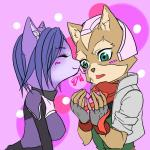 anthro black_nose blue_hair blush bodysuit candy canine clothing duo eyes_closed female fingerless_gloves fox fox_mccloud fur gloves green_eyes hair happy headset holidays jacket krystal male mammal nintendo ribbons scarf short_hair skinsuit star_fox unknown_artist valentine's_day video_games   Rating: Safe  Score: 5  User: Cαnε751  Date: February 15, 2015