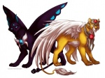 amber_eyes armor black_fur butterfly_wings cardcaptor_sakura claws cyan_eyes duo feathers feline feral fluffy_tail fur gem kero lion lisannexx male panther plain_background smile spinel_sun white_background wings yellow_fur   Rating: Safe  Score: 3  User: Fluttershy  Date: July 15, 2013