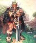 abs anthro armor biceps brown_fur canine cape claws clothing fur hair horn male mammal muscles null-ghost pecs standing sword toe_claws warrior weapon wolf   Rating: Safe  Score: 8  User: mj  Date: March 25, 2014