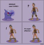 ambiguous_gender balls biped bottomwear brekabem cargo_shorts clothed clothing comic curse duo english_text erection fan_character footwear gengar genitals hair hi_res human magic male mammal micropenis mohawk_(hairstyle) nintendo penis pokémon pokémon_(species) pokémon_move rahim_(brekabem) shirt shoes shorts shrinking_balls shrinking_genitals simple_background small_penis smile standing tank_top text topwear video_games