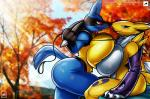 2016 <3 absurd_res anthro big_breasts big_butt blue_eyes blush breast_squish breasts breasts_frottage butt canine collar crossover digimon duo female female/female fox glowing glowing_eyes hi_res huge_breasts leash lucario mammal nintendo nude pokémon pokémorph red_eyes renamon smile thick_thighs video_games voluptuous walter_sache wide_hips  Rating: Questionable Score: 21 User: snowblind Date: March 31, 2016