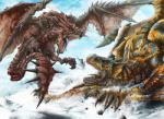 ambiguous_gender black_scales blood blue_scales capcom claws duo feral fight flying gore monster_hunter outside rathalos red_scales rock scales scalie snow spikes teeth tigrex tongue tree unknown_artist video_games wings wyvern yellow_scales  Rating: Safe Score: 6 User: GameManiac Date: January 08, 2015