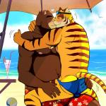 abs anthro beach bear bearlovestiger13 biceps blue_eyes blush brown_fur butt chest_tuft clothed clothing duo eyes_closed feline fur juuichi_mikazuki love male male/male mammal morenatsu muscular nipples on_lap outside pecs pink_nose seaside shorts sitting_on_lap summer sweat swimsuit tiger topless torahiko_(morenatsu) tuft white_fur  Rating: Questionable Score: 6 User: BrownMan Date: January 17, 2016