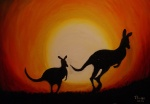 2013 ambiguous_gender duo feral foxia kangaroo mammal marsupial oil_painting silhouette sunset