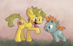 black_eyes cub cutie_mark duo equine feral friendship_is_magic fur gastropod green_fur green_hair hair hi_res horn inkyfirefly male mammal my_little_pony orange_hair simple_background smile snail snails_(mlp) snips_(mlp) unicorn yellow_fur young   Rating: Safe  Score: 4  User: Granberia  Date: June 19, 2013