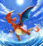 2014 ambiguous_gender blue_eyes charizard claws cloud day daytime dragon feral fire flying hi_res nintendo outside pokémon scalie sea sky smile solo sun teeth video_games water wings テッシー  Rating: Safe Score: 15 User: N7 Date: March 23, 2015