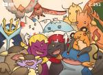 alternate_color baby_kangaskhan charizard dedenne dragon dragonite empoleon feathered_wings feathers flaming_tail group happy jellicent kangaskhan membranous_wings nintendo pokémon scalie shiny_pokémon smile swampert talonflame tea_pill togekiss video_games weavile wings