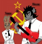blue_eyes canine cigarette couple demon_irah ear_piercing guitar hammer_and_sickle lagomorph mammal nu_pogodi piercing rabbit red_eyes russian wolf   Rating: Safe  Score: 2  User: Skwirl  Date: June 06, 2010