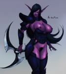 big_breasts black_hair blackchain breasts ear_piercing elf female hair night_elf nipples piercing pointy_ears pubes purple_skin pussy solo standing unconvincing_armor video_games warcraft weapon world_of_warcraft   Rating: Explicit  Score: 17  User: Ample_Bovine  Date: December 18, 2013