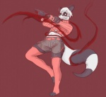 action_pose anthro bear blood chigui_(character) clothed clothing eyewear female glasses intersex lawyerdog leaning leaning_back leg_warmers legwear long_tail mammal panda raised_hand reptile scalie shorts solo standing_on_one_foot stockings thigh_highs top   Rating: Safe  Score: 4  User: TheWingman  Date: February 03, 2015