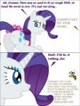 2013 arthropod bee bee_sting blue_eyes bsting butt comic cutie_mark dialogue duo english_text equine female feral friendship_is_magic fur horn insect mammal my_little_pony rarity_(mlp) text unicorn white_fur  Rating: Safe Score: -1 User: BSting Date: September 25, 2013