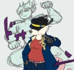 chain crossover human jacket japanese_text jojo's_bizarre_adventure mammal marsupial pointing poppy_opossum text   Rating: Safe  Score: 0  User: Zedee  Date: April 24, 2014