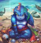 angry anthro armband beach blue_body boat bulge clothing detailed_background fin fish hi_res jewelry looking_at_viewer male marine merfolk necklace orange_eyes sea seaside shell sitting slightly_chubby solo underwear vehicle water webbed_hands wet Nion  Rating: Safe Score: 5 User: israfell Date: February 03, 2016