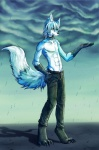 2012 abs anthro barefoot blue_fur canine chaoticicewolf claws clothed clothing collar fur hair hi_res koorimizu male mammal outside pose raining solo toe_claws topless wet white_fur white_hair wolf wolfy