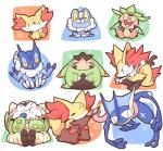 amphibian anthro berry blush braixen bubble canine chesnaught chespin delphox eating eyes_closed fennekin feral fire food froakie frogadier fruit fur greninja leaf mammal nettsuu nintendo open_mouth pokémon quilladin shapes simple_background stick tongue tongue_out video_games white_background