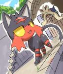 2017 absurd_res duo feral hi_res litten looking_back male nintendo outside pokémon pokémon_(species) signature story story_in_description stoutland tamanosuke video_games