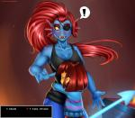 ! 2016 ambiguous_gender anthro athletic black_eyes blue_scales blush breasts brown_background brown_hair claws clothed clothing dialogue doomthewolf duo english_text eye_patch eyes_closed eyewear female fin fire fish gui hair hi_res hug human long_hair mammal marine melee_weapon open_mouth pants polearm protagonist_(undertale) red_hair red_skin scales sharp_teeth shirt simple_background size_difference smoke spear stove tank_top teeth text undertale undyne video_games weapon white_background yellow_sclera  Rating: Safe Score: 65 User: GameManiac Date: March 01, 2016