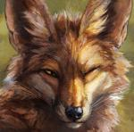 2018 abstract_background ambiguous_gender black_lips black_nose brown_fur canid canine countershade_torso countershading detailed_fur feral fox fur green_background half-closed_eyes headshot_portrait icon inner_ear_fluff kenket long_mouth looking_at_viewer mammal no_sclera one_eye_closed orange_eyes painting_(artwork) portrait red_fox shadow simple_background slit_pupils smile snout solo traditional_media_(artwork) whiskers white_countershading white_fur wink