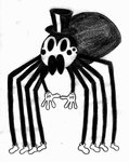 4_fingers 8_eyes 8_legs arachnamorph arachnid arthropod arthropod_abdomen clothing ebrithilbowser exoskeleton feral fingers gloves handwear hat headgear headwear hi_res long_legs male monochrome multi_eye pedipalps simple_background solo spider top_hat white_background
