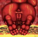 3_toes all_fours anthro anus butt claws dragon female hindpaw jackthespartan lava looking_at_viewer nude paws pussy scalie smile solo toes   Rating: Explicit  Score: 18  User: TheFriesianStallion  Date: December 27, 2014