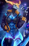2020 anthro aurelion_sol_(lol) black_sclera blue_eyes bra breasts clothed clothing dragon female hi_res league_of_legends looking_at_viewer panties riot_games skygracer solo underwear video_games
