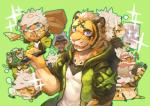 anthro black_fur black_stripes blue_eyes clothed clothing drawing eating feline food fully_clothed fur green_background holding_food holding_object looking_at_viewer male mammal multicolored_fur open_mouth outline pink_nose pizza restricted_palette rpbbw shirt simple_background sleeping stripes teeth tiger tigre tongue underwear vest white_fur yellow_fur 五色