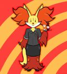 anthro clothing delphox dragonskator female inner_ear_fluff looking_at_viewer nintendo pokémon pokémon_(species) solo video_games waiter