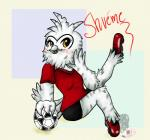anthro avian bird blush female mascot mundienadog one_leg_up owl pinup pose shuéme signature sitting snowy_owl soccer soccer_ball solo  Rating: Safe Score: 0 User: Circeus Date: July 14, 2015