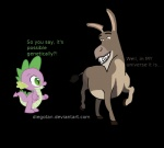 alpha_channel crossover dialog diegotan donkey donkey_(shrek) dragon english_text equine feral friendship_is_magic hooves horse male mammal my_little_pony plain_background shrek spike_(mlp) text transparent_background   Rating: Safe  Score: 1  User: slyroon  Date: August 09, 2013