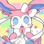 <3 ambiguous_gender blue_eyes blush bow_tie canine eeveelution feral hair_bow hair_ribbon looking_at_viewer low_res mammal nanikoulei nintendo open_mouth pokémon pokémon_(species) ribbons solo sylveon video_games
