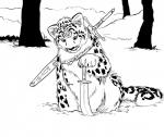 ambiguous_gender black_and_white feline feral leopard mammal melee_weapon monochrome outside ricedawg snow snow_leopard solo sword tree weapon  Rating: Safe Score: 4 User: Random Date: August 13, 2015