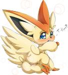 <3 blue_eyes blush butt english_text female feral legendary_pokémon looking_at_viewer looking_back nintendo pokémon presenting pussy pussy_juice simple_background solo suddenhack text victini video_games  Rating: Explicit Score: 13 User: Pasiphaë Date: November 22, 2015