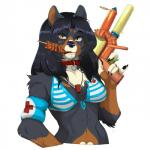 2015 anthro bikini blackberry brown_hair canine clothing collar dog eating female food hair kebab lifeguard looking_at_viewer lunch mammal nurse saliva shebeast simple_background solo stick supersoaker swimsuit water_gun whistle white_background  Rating: Safe Score: 7 User: Wadxxx Date: September 01, 2015