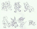 2010 agumon ambiguous_gender betamon canine claws clothed clothing crossed_arms digimon dinosaur dorumon dragon elecmon fin fur gaomon gloves gomamon group headband looking_at_viewer lunamon mammal marine monochrome navel nude one_eye_closed scales scalie simple_background sketch tigerlilylucky toe_claws traditional_media_(artwork) tuft veemon white_background wings wink  Rating: Safe Score: 1 User: GameManiac Date: December 03, 2015