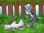 anthro blush bulge canine drunk duo eyes_closed female feral grass imminent_rape jackal lucario lying male male/female mammal mightyena mizusawa_nino nintendo on_back outside pokémon pussy sleeping spread_legs spreading suit tree video_games zzz  Rating: Explicit Score: 10 User: Raria Date: July 27, 2015