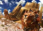 armor city cityscape close-up cloudscape duo dutch_angle feline feral gate headdress johannes_voss lion looking_away low-angle_view magic_the_gathering male mammal official_art perspective quadruped sky standing  Rating: Safe Score: 4 User: Circeus Date: April 21, 2016