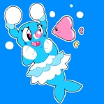 ambiguous_gender blue_body brionne bubble cute fangs female feral group luvdisc mammal marine nintendo pinniped pockepikachus pokémon simple_background smile solo_focus video_games