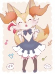 blush braixen brown_fur clothed clothing dress eyes_closed female fur japanese_text kemono music nintendo pokémon pyonko singing solo text translated video_games  Rating: Safe Score: 12 User: YLYL Date: June 14, 2015""