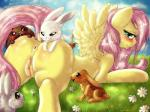 2014 absurd_res ambiguous_gender angel_(mlp) anus blush brown_fur butt dimwitdog easter equine female feral fluttershy_(mlp) friendship_is_magic fur grass group hair hi_res holidays lagomorph long_hair looking_at_viewer lying mammal my_little_pony on_front outside pegasus pink_fur pussy rabbit white_fur wings yellow_fur   Rating: Explicit  Score: 24  User: lemongrab  Date: April 20, 2014