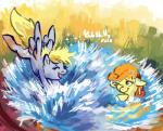 2012 blonde_hair carrot_top_(mlp) cuteskitty derpy_hooves_(mlp) duo equine eyelashes eyes_closed female friendship_is_magic fur green_eyes grey_fur hair horse mammal my_little_pony one_eye_closed open_mouth orange_hair outside pony smile water yellow_fur   Rating: Safe  Score: 5  User: DeltaFlame  Date: February 14, 2015