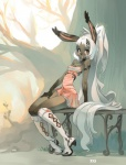 anthro bench blush boots clothed clothing dress female final_fantasy footwear fran gueuzav hair lagomorph long_hair looking_at_viewer mammal outside pinup pose rabbit scenery sitting solo stripes tree video_games viera white_hair wood  Rating: Safe Score: 24 User: queue Date: October 28, 2011""