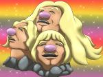 2016 alolan_dugtrio amazing black_eyes blonde_hair brown_skin hair he_man humor long_hair meme mykiio nintendo parody pink_nose pokémon rainbow_background regional_variant rock simple_background sparkles video_games