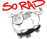 ambiguous_gender cat collar english_text feline humor mammal monochrome overweight reaction_image skateboard skateboarding solo source_request text unknown_artist