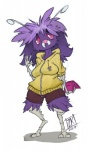 2017 2_toes 4_fingers antennae anthro anthrofied breasts clothed clothing eyebrows female fur hair hoodie looking_at_viewer nintendo pokémon pokémon_(species) purple_fur purple_hair shorts solo standing toes venonat video_games waving zwitterkitsune