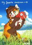 blue_eyes day detailed_background duo feral fish magikarp mammal marine nintendo outside pokémon red_panda ritkat video_gamesRating: SafeScore: 6User: MillcoreDate: May 18, 2017