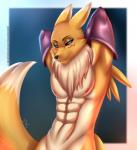 2015 abs anthro bedroom_eyes black_nose black_sclera blue_eyes canine chest_tuft clothing digimon doomthewolf elbow_gloves facial_markings fur gloves half-closed_eyes half-length_portrait looking_at_viewer male mammal markings muscles nipples nude pose renamon solo tuft white_fur yellow_fur  Rating: Questionable Score: 25 User: Blind_Guardian Date: July 05, 2015