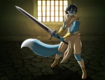 anthro armband armor black_hair blue_fur canine clothed clothing convincing_weapon fox fur hair jessica_elwood male mammal melee_weapon solo sword weapon yellow_eyes