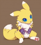 ambiguous_gender anthro baby bandai black_nose blue_eyes canine chest_tuft cub cute digimon digitigrade fingerless_gloves fluffy fluffy_tail fox fur gloves mammal mane markings multicolored_fur pawpads paws plain_background purple_markings renamon sitting solo tuft two_tone_fur valderic_blackstag white_background white_belly white_markings yellow_fur young   Rating: Safe  Score: 85  User: slyroon  Date: September 23, 2012